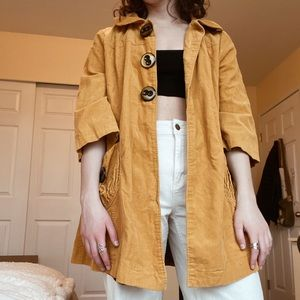 Thrifted mustard yellow long coat